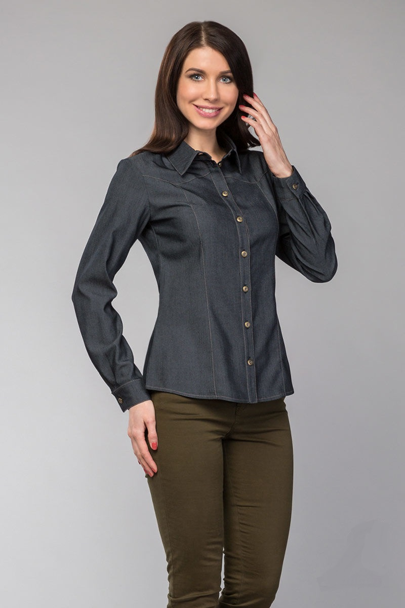 Черная джинсовая рубашка женская LalaStyle 980-15