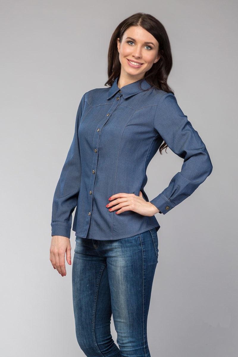Джинсовая рубашка  с длинным рукавом LalaStyle 980-16