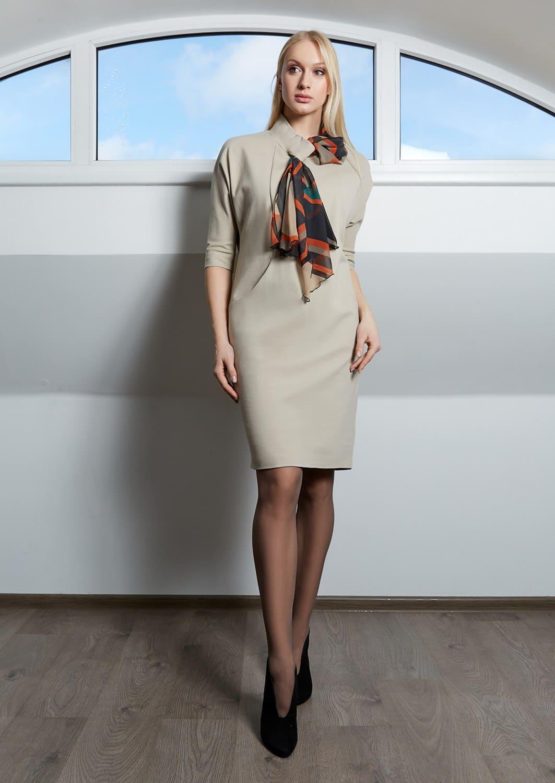 Бежевое женское платье TopDesign B9 035