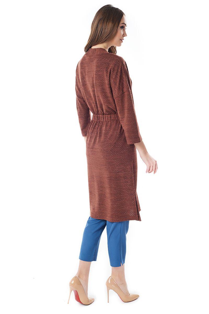 Длинный жакет медно-коричневого цвета LalaStyle 1451