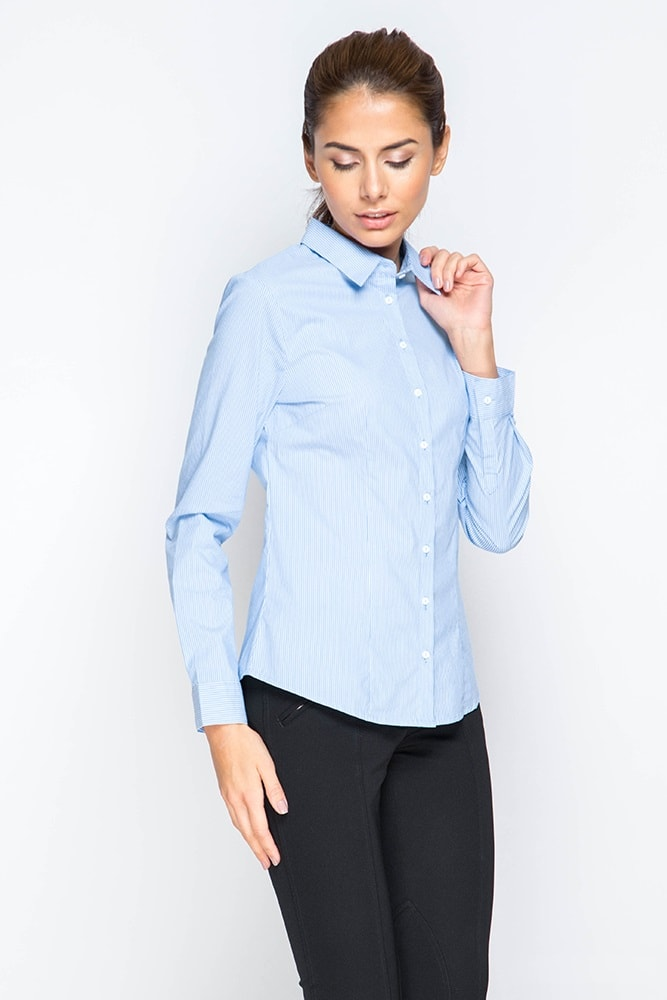 a4bdd4041b4af23 Голубая женская рубашка в полоску Marimay 281-1556