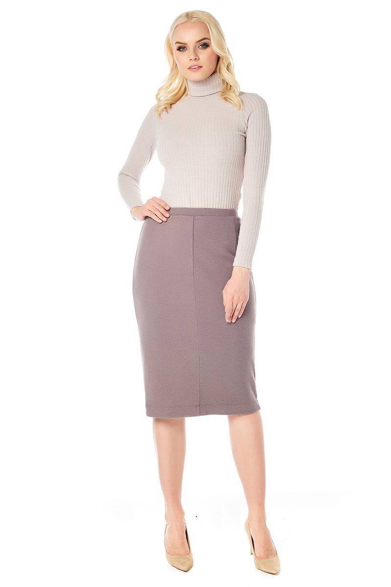 Трикотажная юбка карандаш цвета капучино LalaStyle W10013