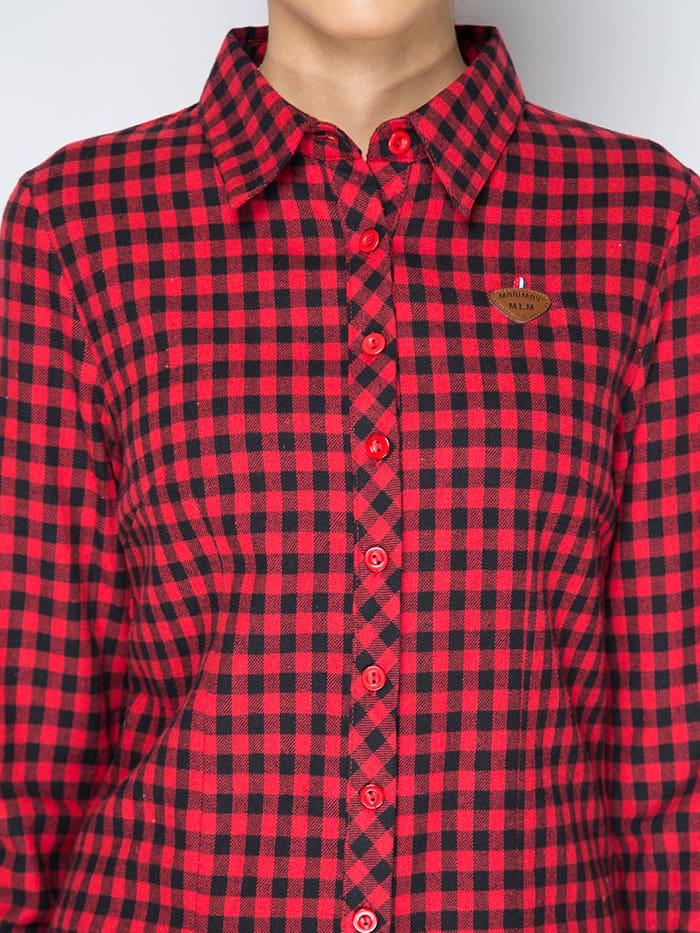 Женская красная рубашка в клетку Marimay 132126