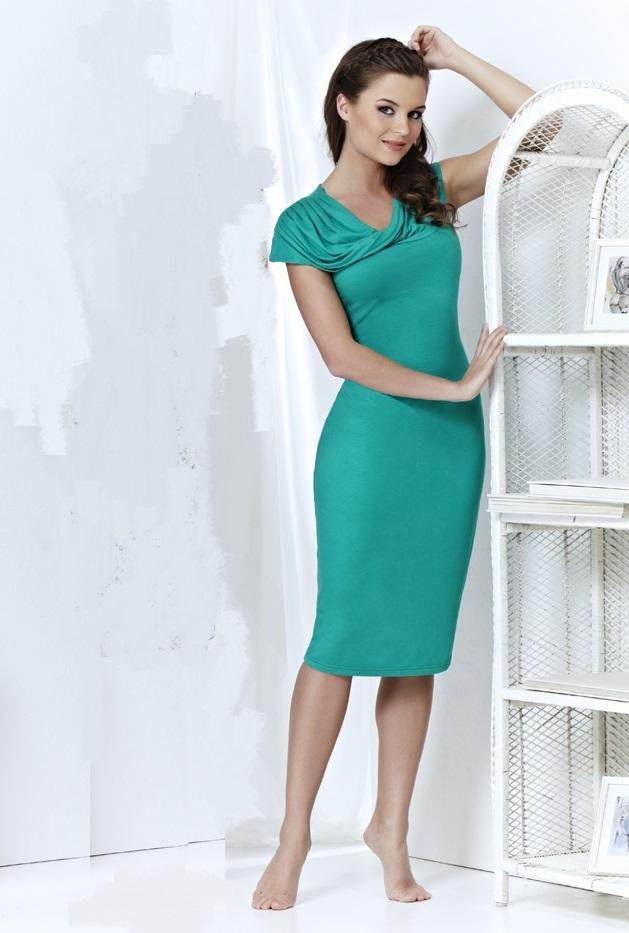 Бирюзовое платье из вискозы Top Design А3 178