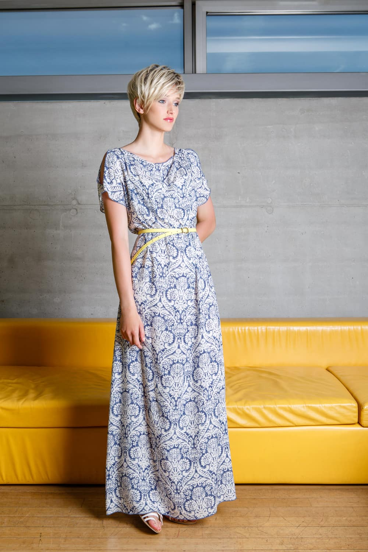 Бело-голубое платье до пола Flaibach 047S6
