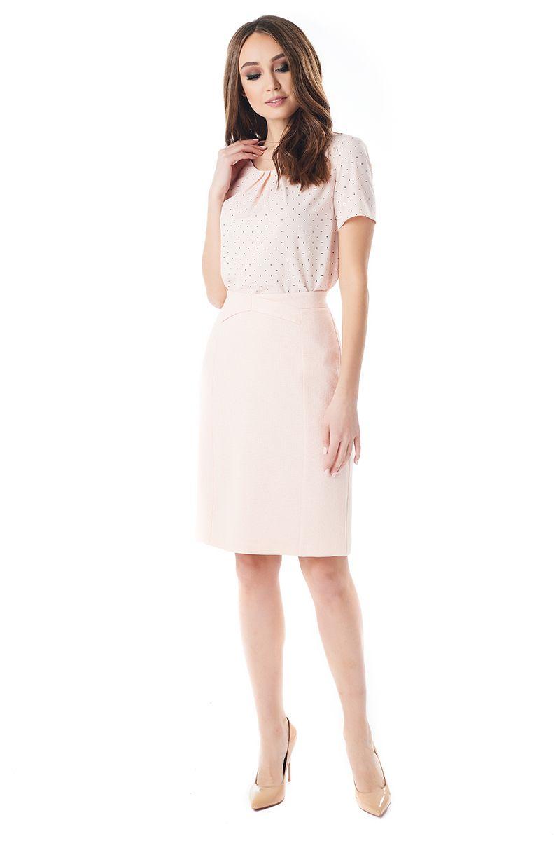 Персиковая юбка из льна LalaStyle 1377