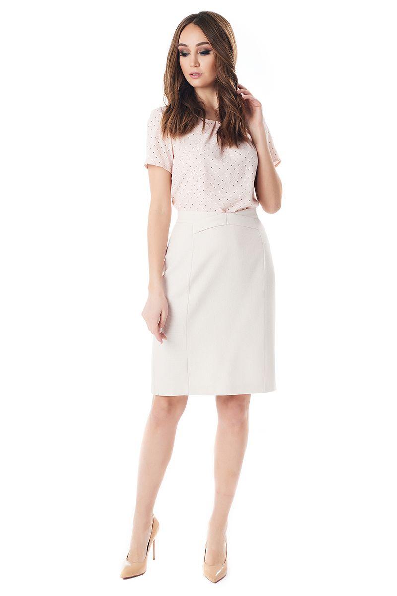 Бежевая летняя юбка из льна LalaStyle 1377