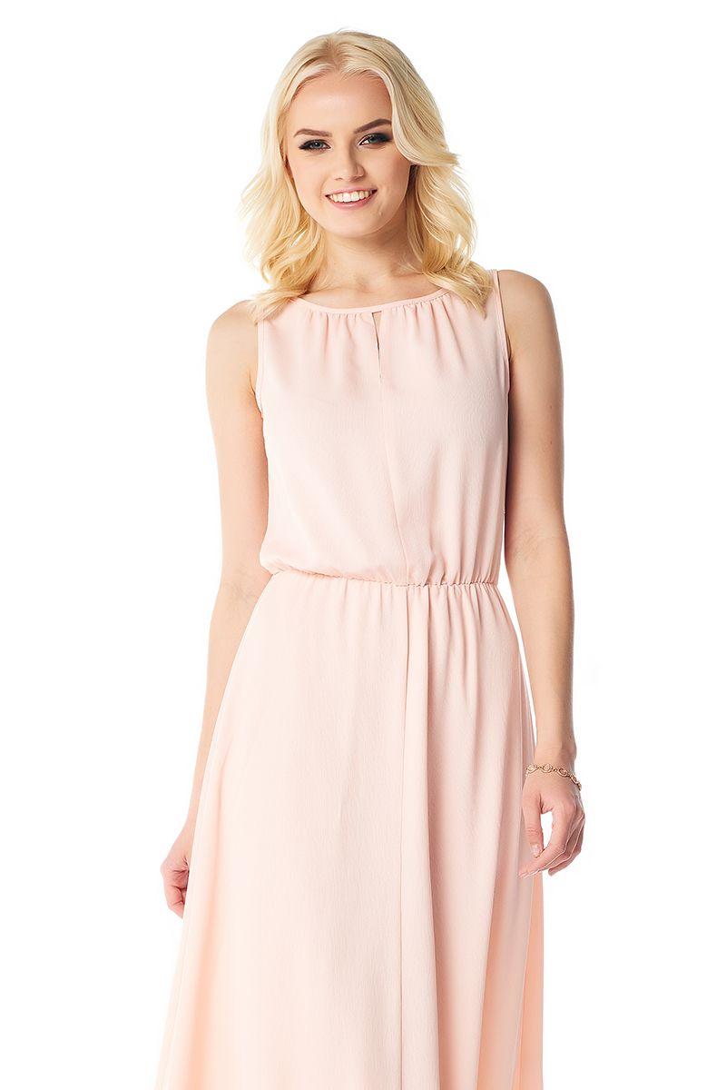 Летнее персиковое платье макси Lala Style 1386