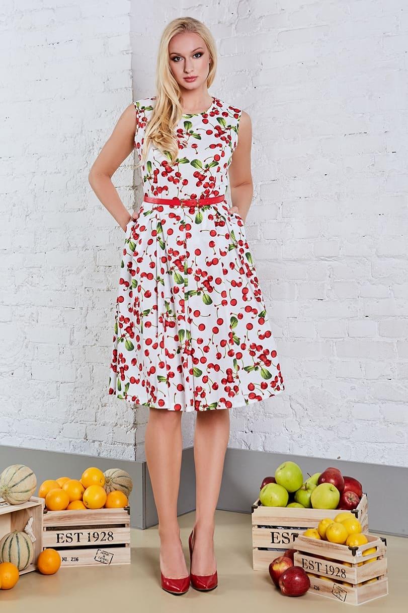 белое платье с вишнями