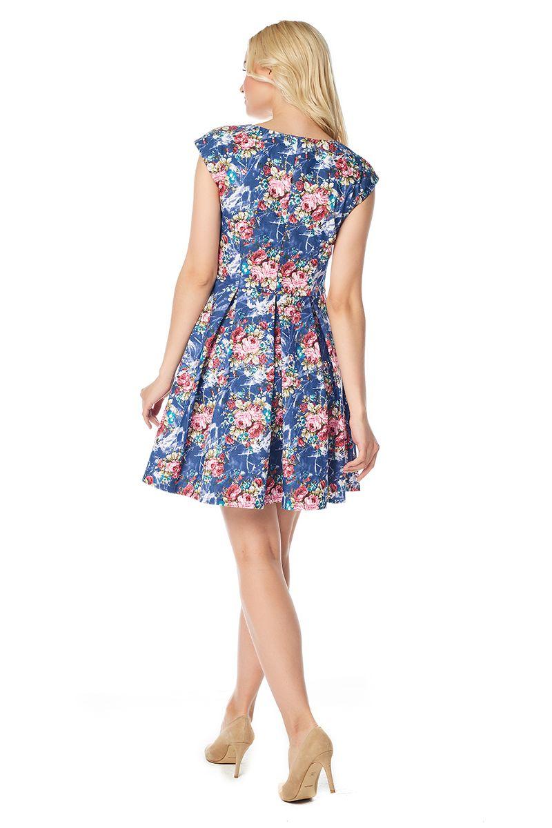 Хлопковое платье со складками на юбке Lala Style 1166-02