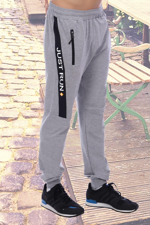 Мужские брюки на манжете цвета серый меланж Berchelli