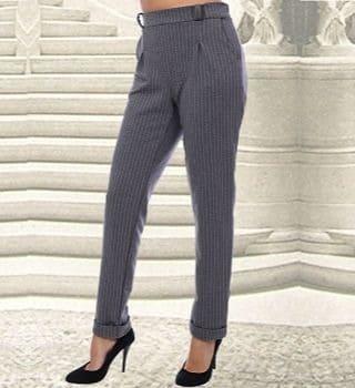 Серые брюки в полоску Natali