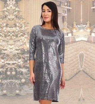 Серебристое блестящее платье Natali