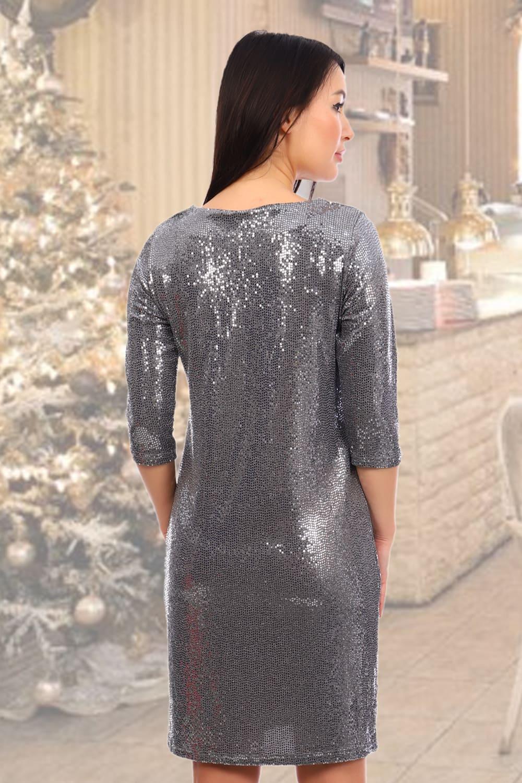 Серебристое сияющее  платье