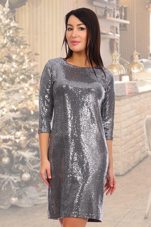 серебристое блестящие платье
