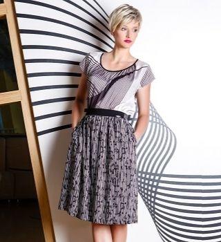 Легкая черно-белая юбка Flaibach 024S6