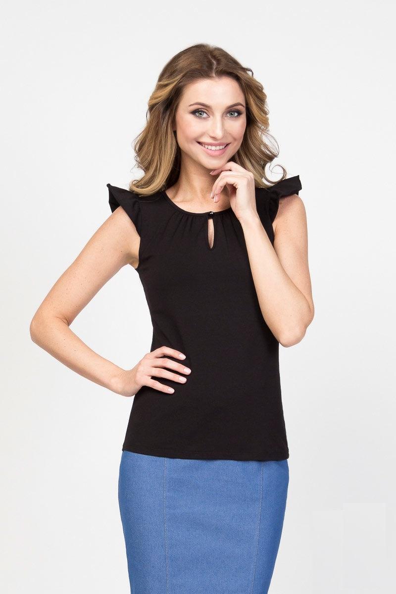 Черная хлопковая блузка LalaStyle 1248