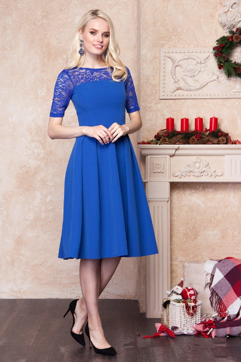 Платье с кружевом сверху Lala Style 1235-09