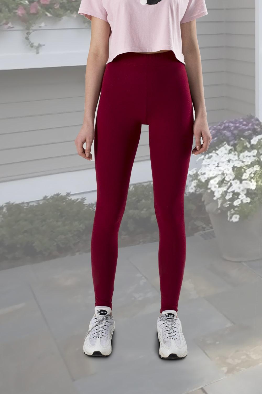 Стильные легинсы цвета бордо