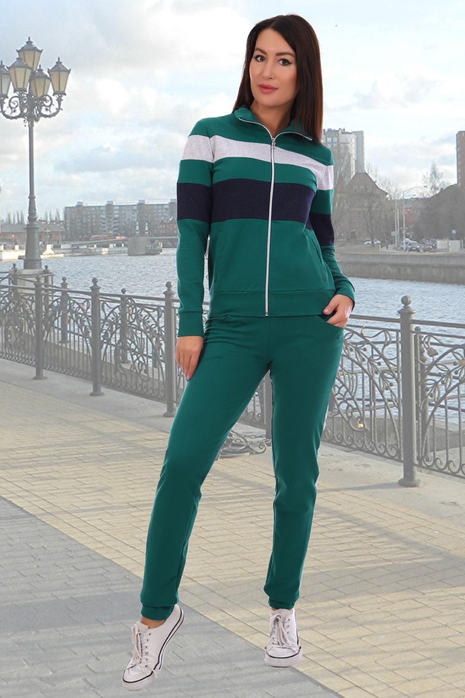 Темно-зеленый спортивный костюм на молнии