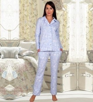 Голубая пижама с английским воротником