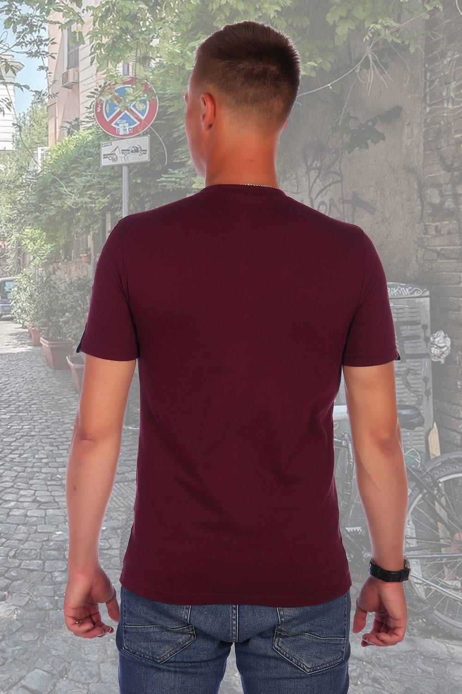 Бордовая футболка с карманом Berchelli