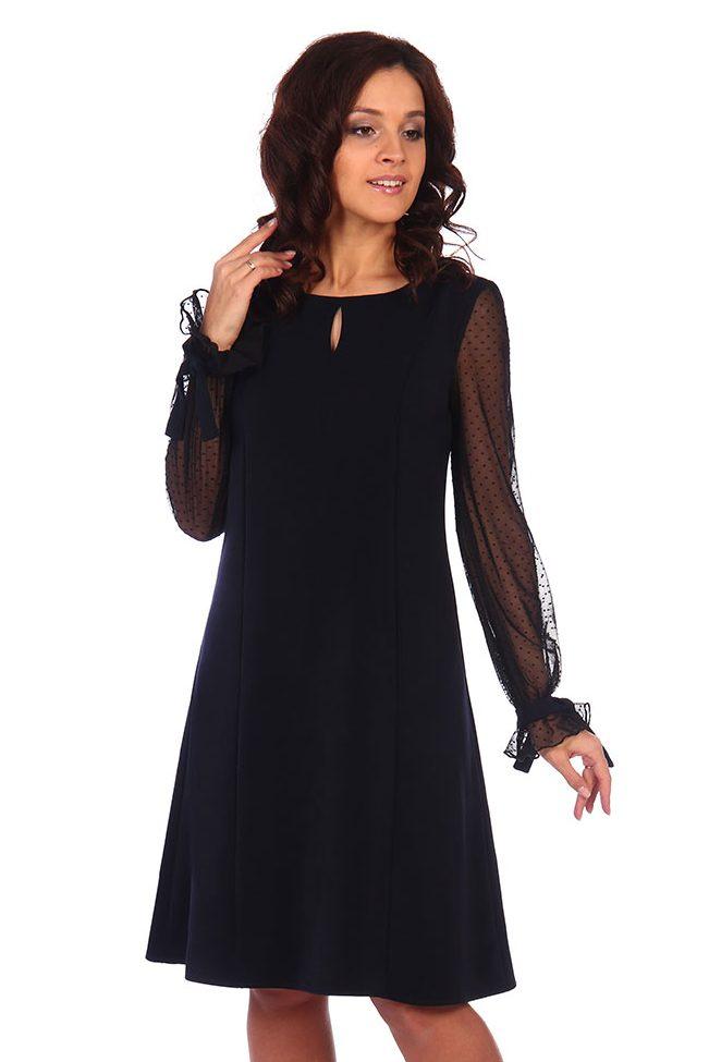Черное платье с прозрачными рукавами Serenada 2383