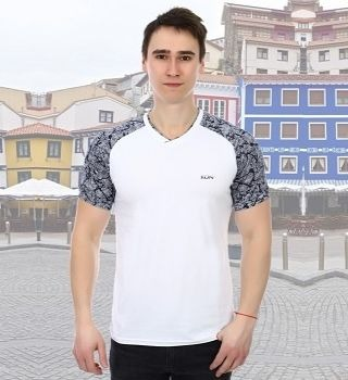 Двухцветная футболка мужская