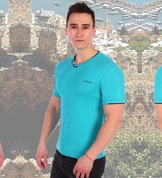 Хлопковая ментоловая футболка Berchelli