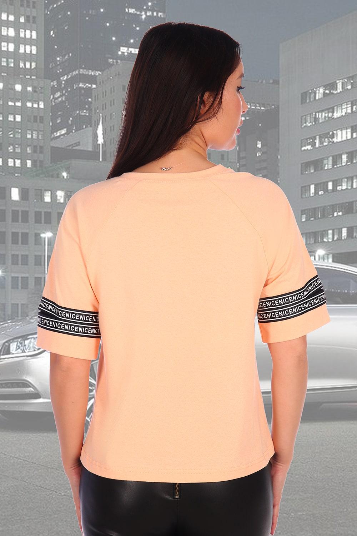 Персиковая хлопковая футболка
