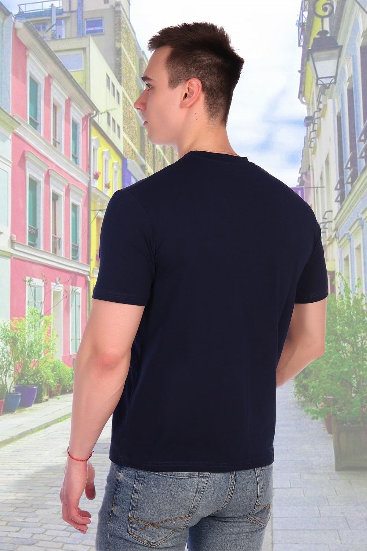 Темно-синяя футболка хлопок с лайкрой