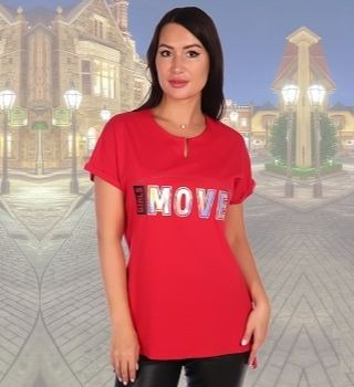 Удлиненная красная футболка
