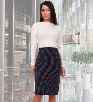Элегантная юбка-карандаш в полоску