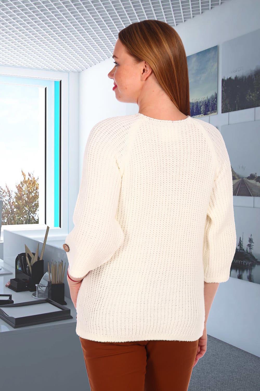 Белый вязаный женский свитер