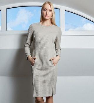 Бежевое платье TopDesign B9 029