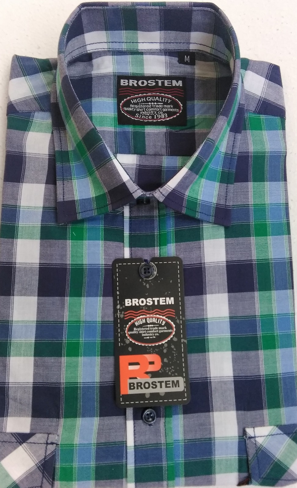 Мужская хлопковая рубашка в клетку Brostem SH668