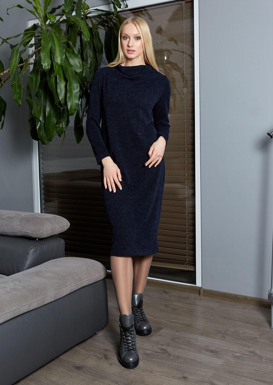 Темно-синие платье с долгим  рукавом Top Design B9 022
