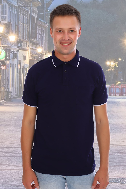 Темно-синяя футболка поло мужская Berchelli 1750
