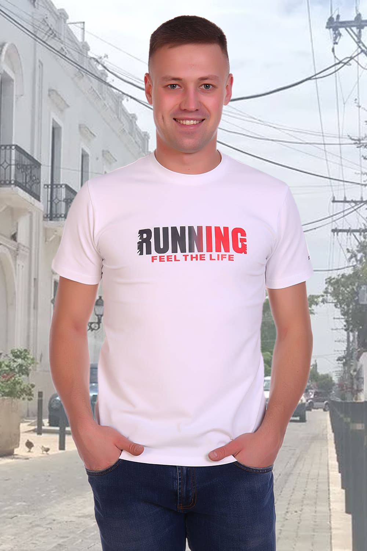 белоснежная  футболка с принтом