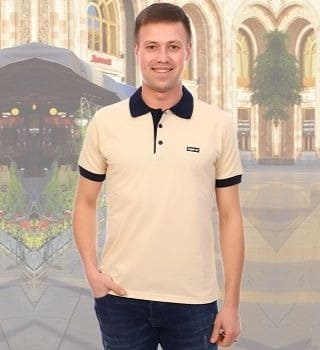 Бежевая футболка поло Berchelli