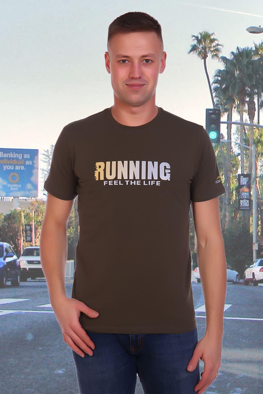 мужская футболка хаки с принтом