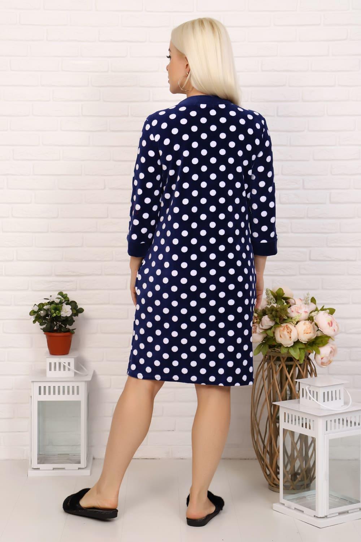 Темно-синий велюровый дамский  халат в горошек