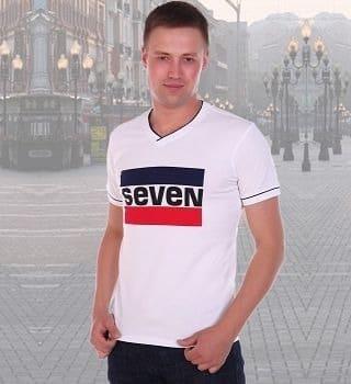 Белая футболка с надписью Seven