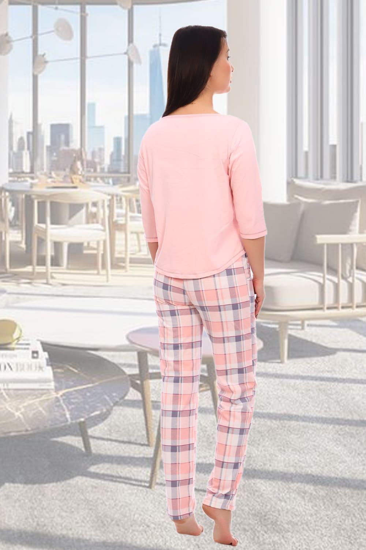 Женская розовая пижама с брюками