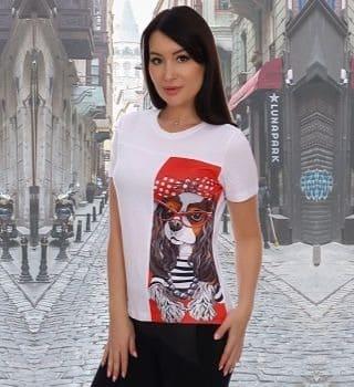Белая женская футболка с принтом Natali