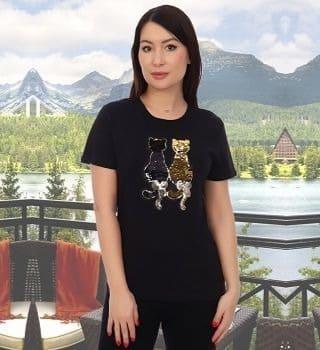 Черная женская футболка с аппликацией Natali