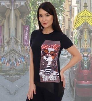 Черная женская футболка с принтом Natali
