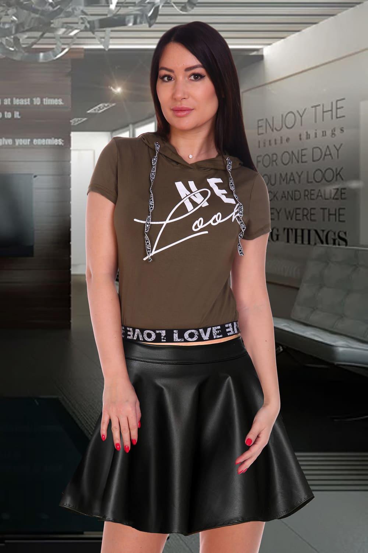 женская футболка с капюшоном