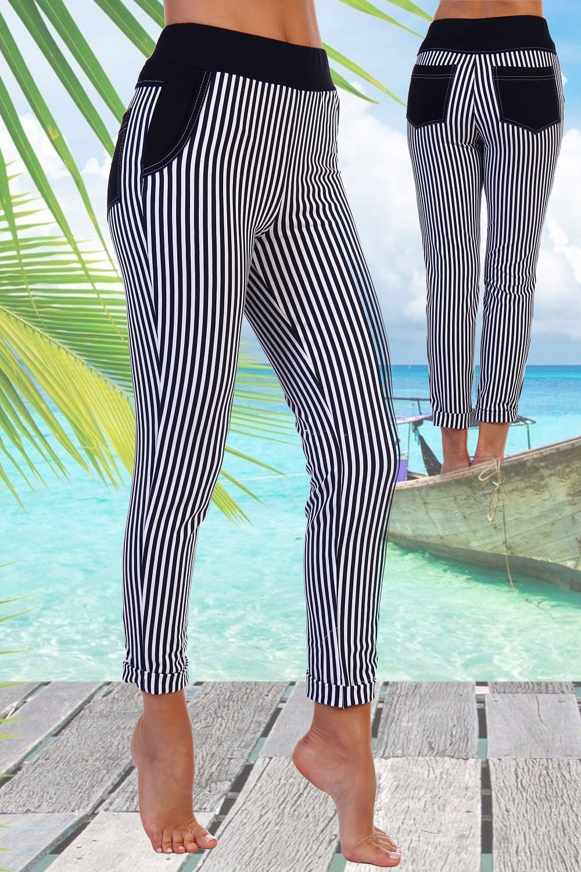 летние брюки в полоску женские