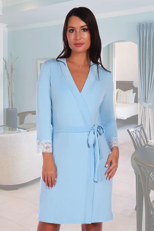 голубой женский халат